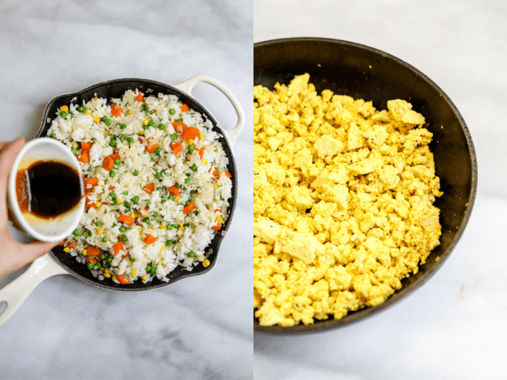 Two images showing the tofu scramble and pouring on the sauce.