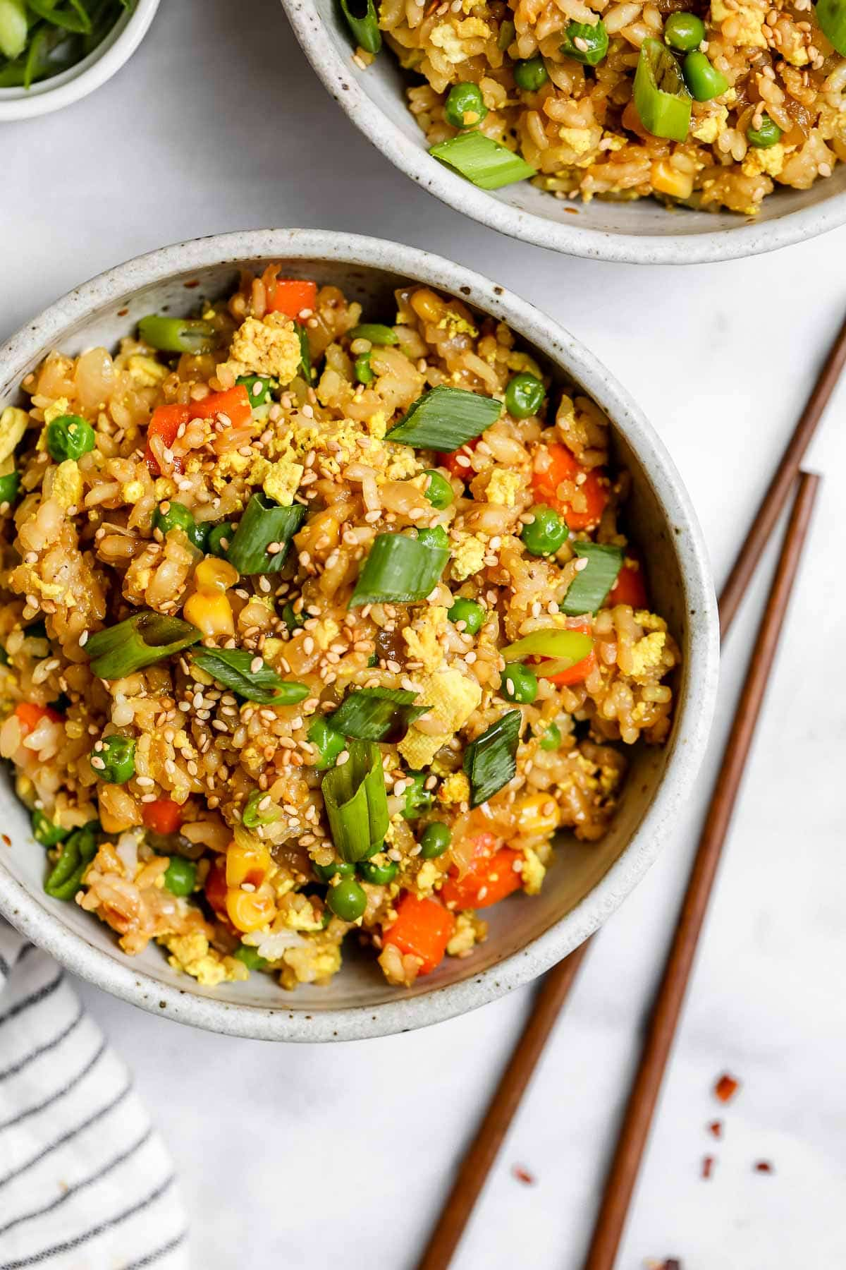 Overhead shot of the vegan fried rice with sesame seeds.
