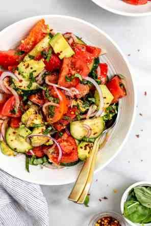 Heirloom Tomato Cucumber & Avocado Salad