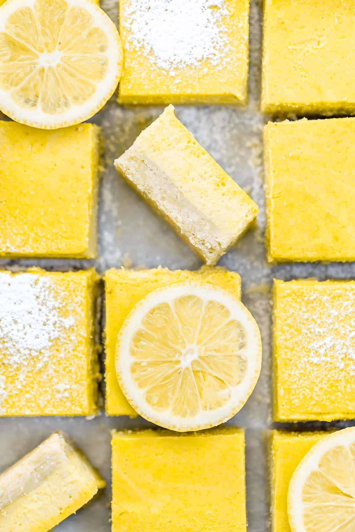 Overhead image of the bars with lemon slices on top.