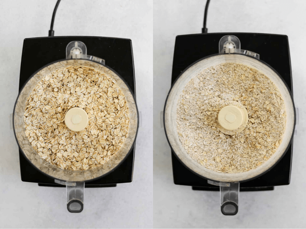 Grinding up the oats in a food processor.