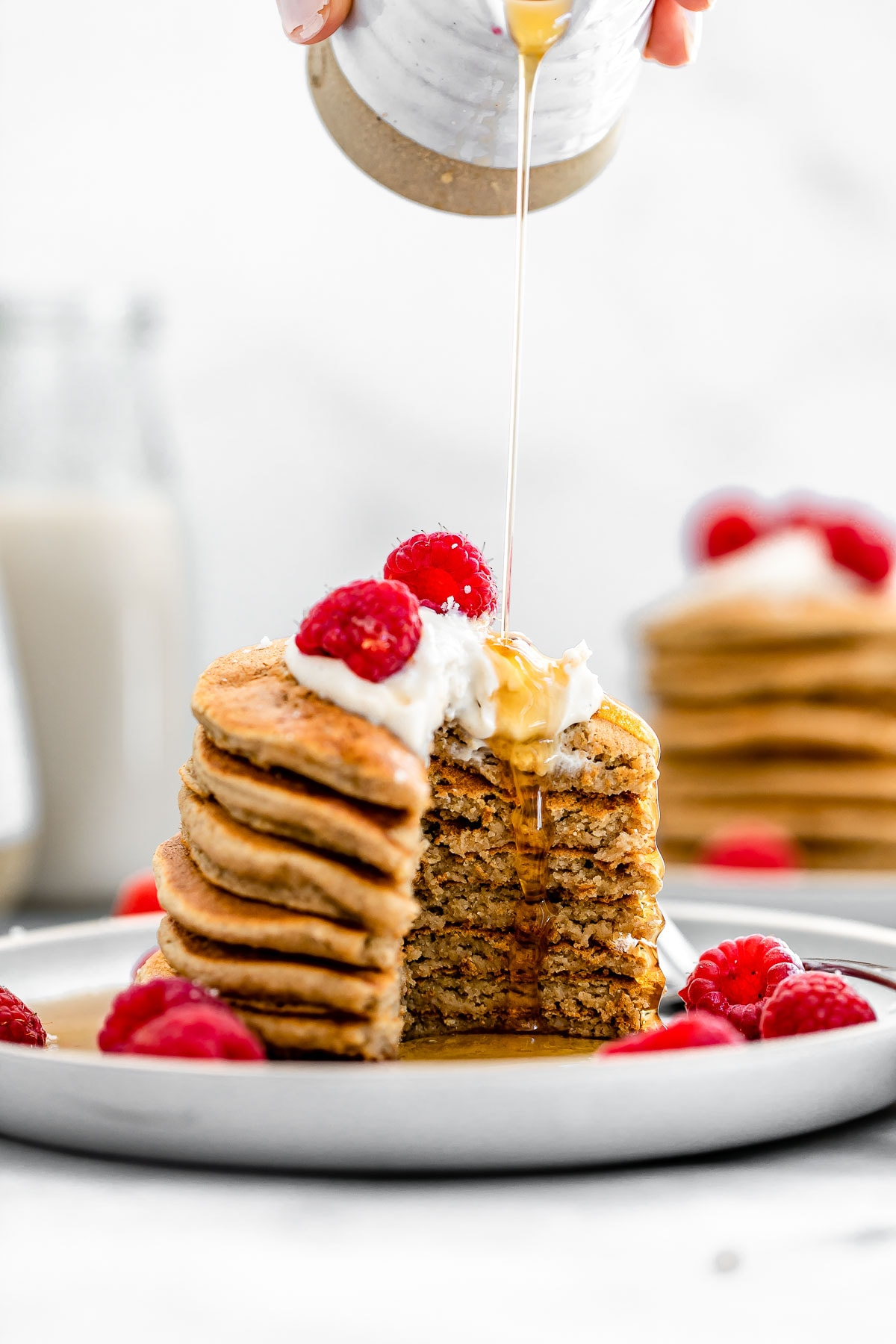 Vegan gluten free pancakes cut to show the texture.