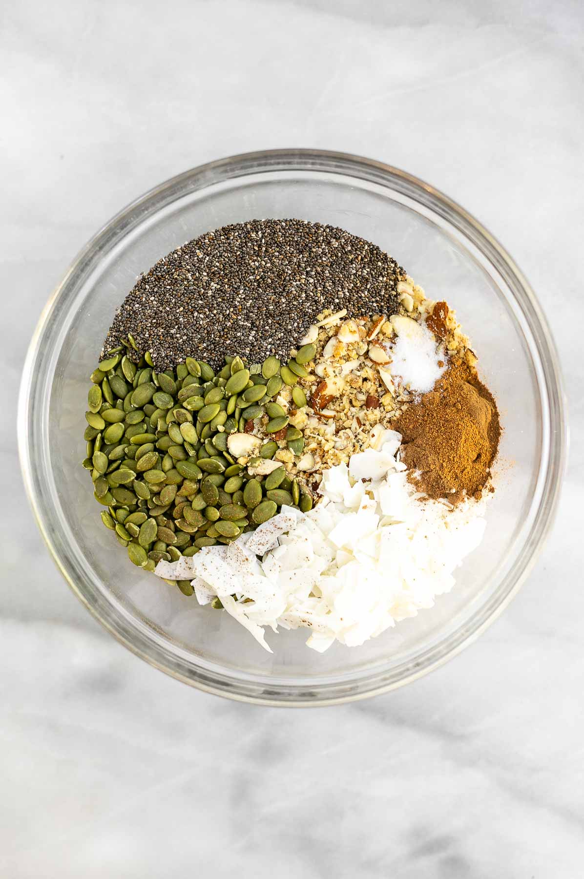 Ingredients for the paleo granola in a bowl.