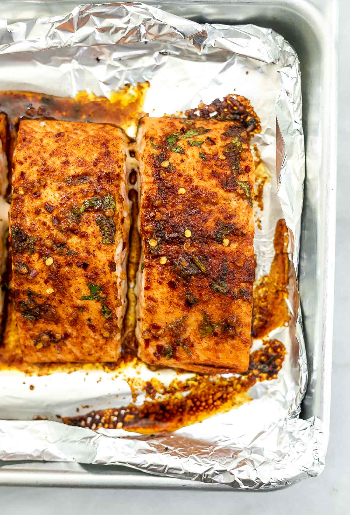 Final salmon after baking.