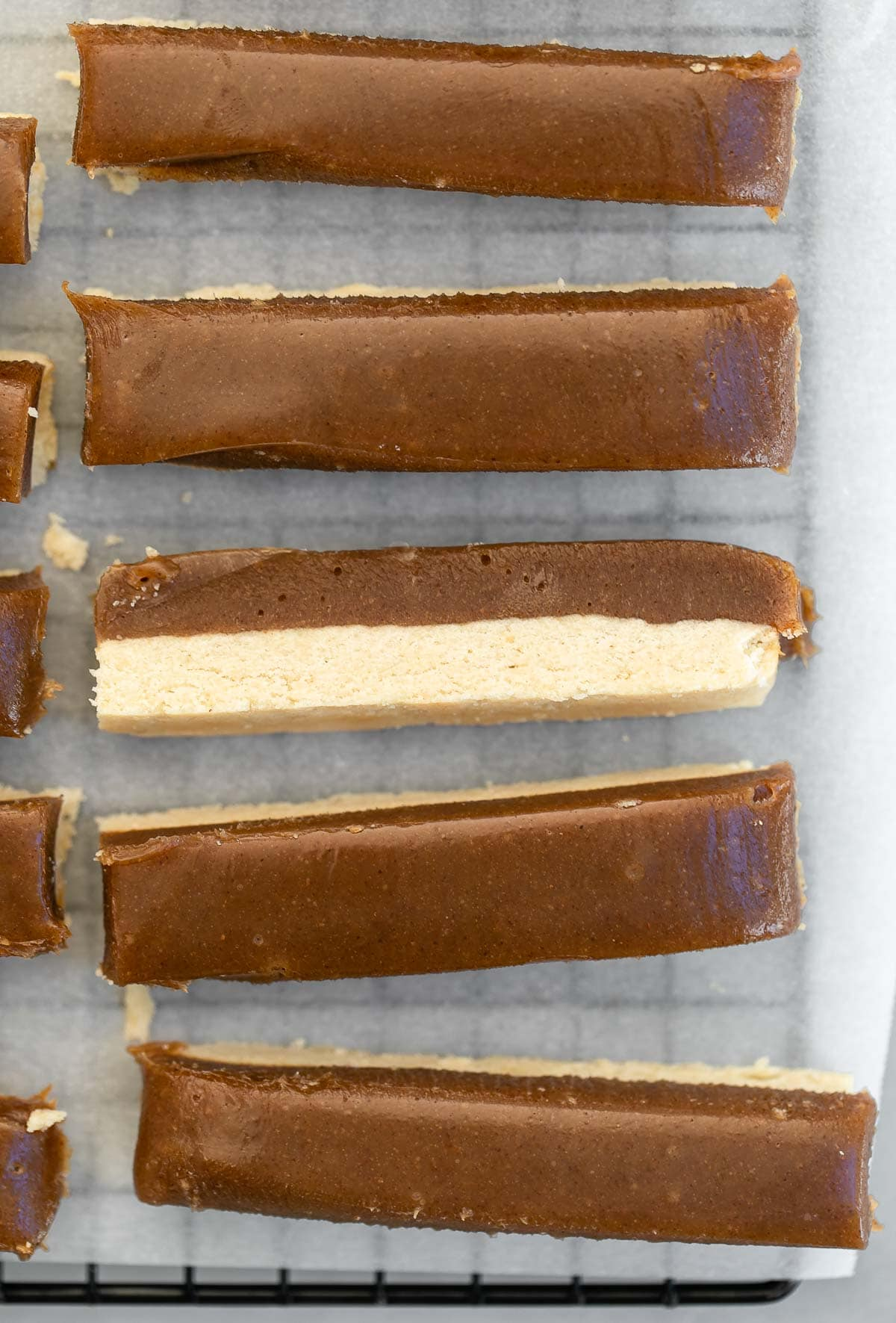 Shortbread and caramel layer after setting.