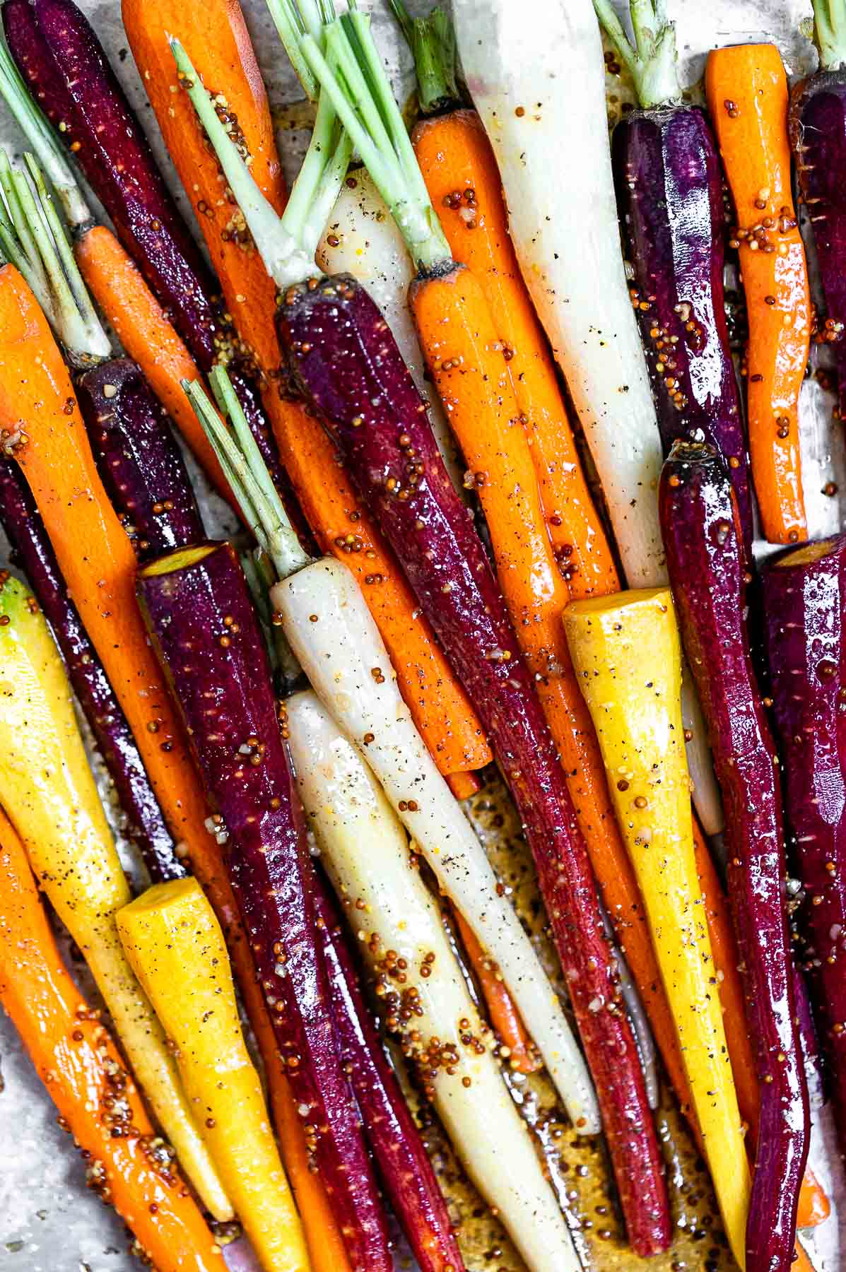 Up close image of the carrots before going in the oven.