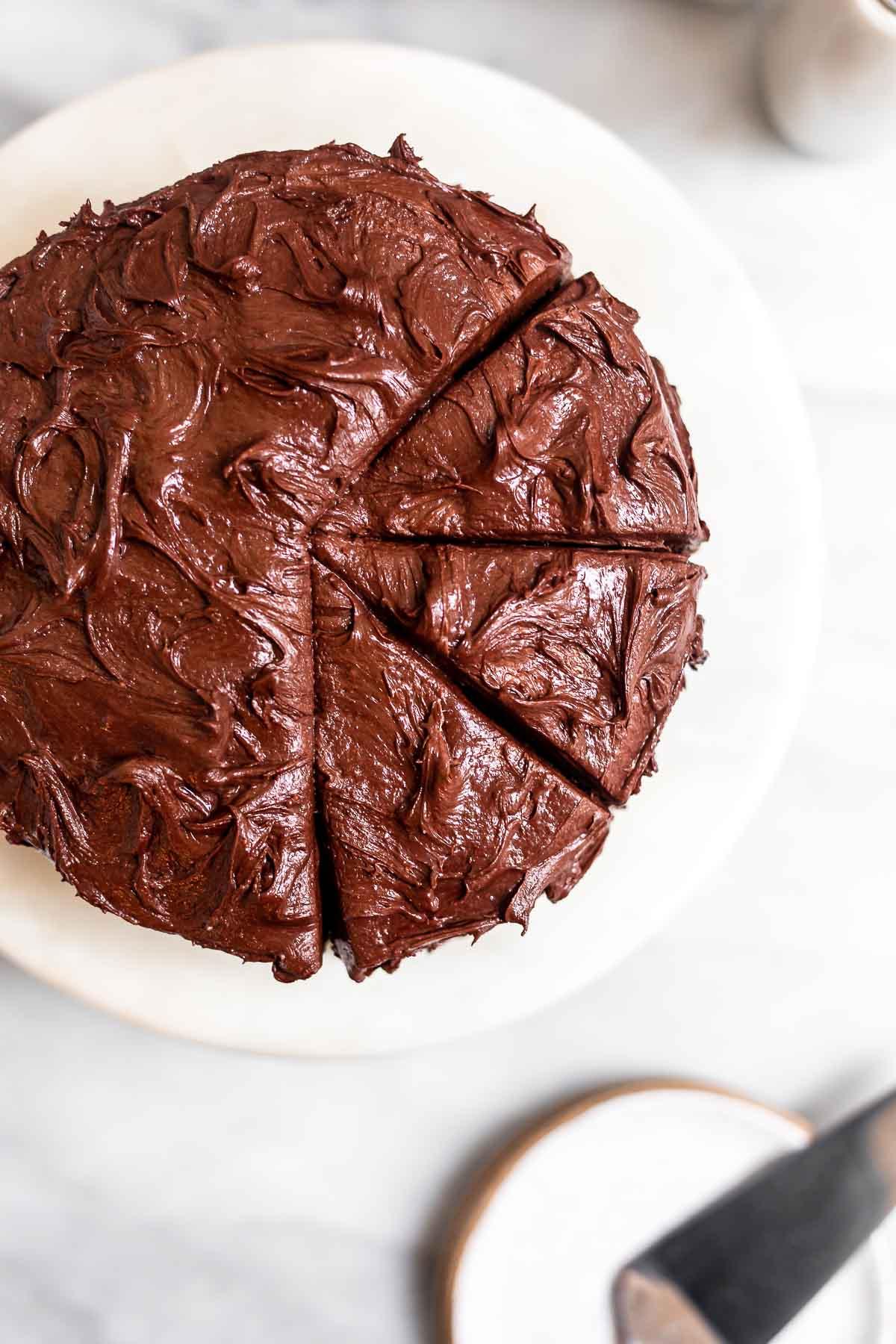 Overhead shot of the vegan gluten free chocolate cake.