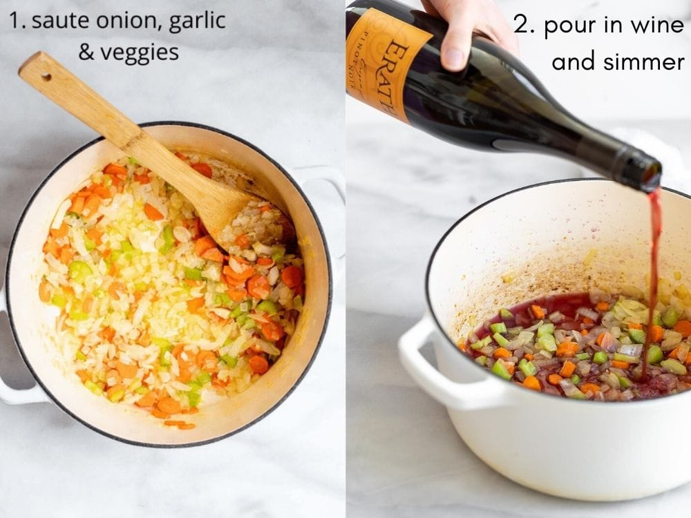 Two images showing the process of making the recipe.