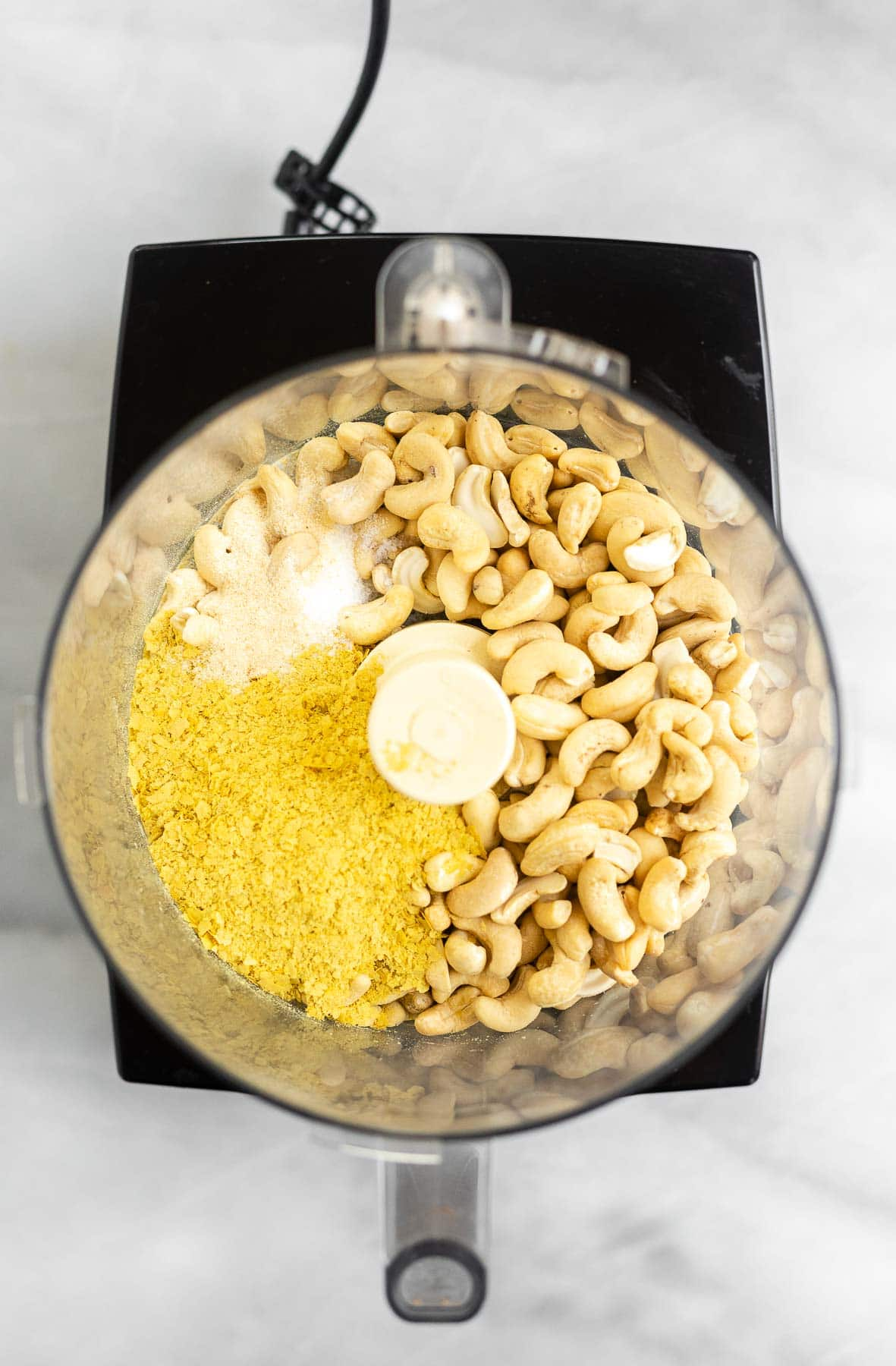 Ingredients in a food processor.