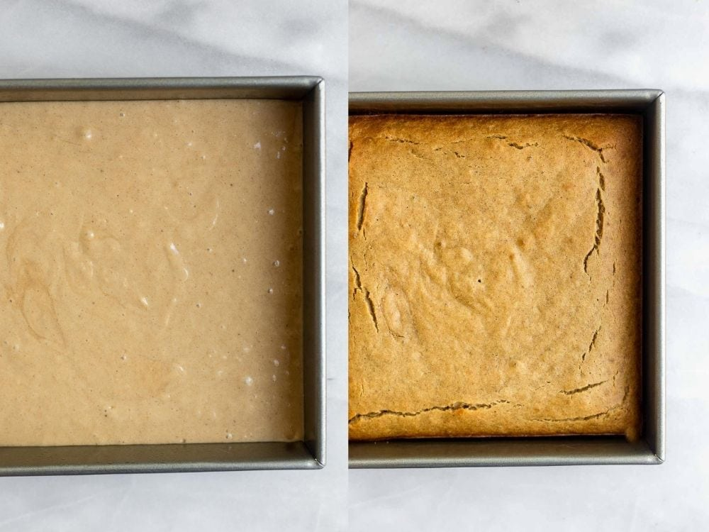 before and after the banana cake getting baked