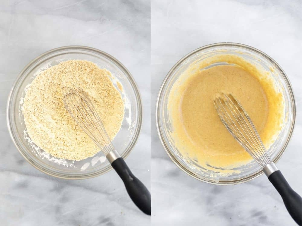 whisking together the pancake batter in a glass bowl