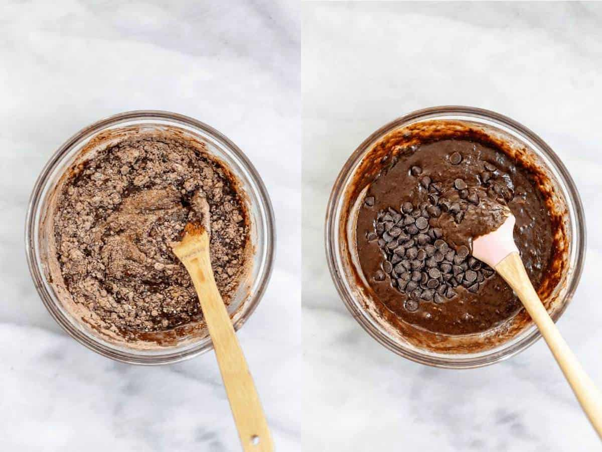 mixing the vegan brownie batter with chocolate chips in a glass bowl