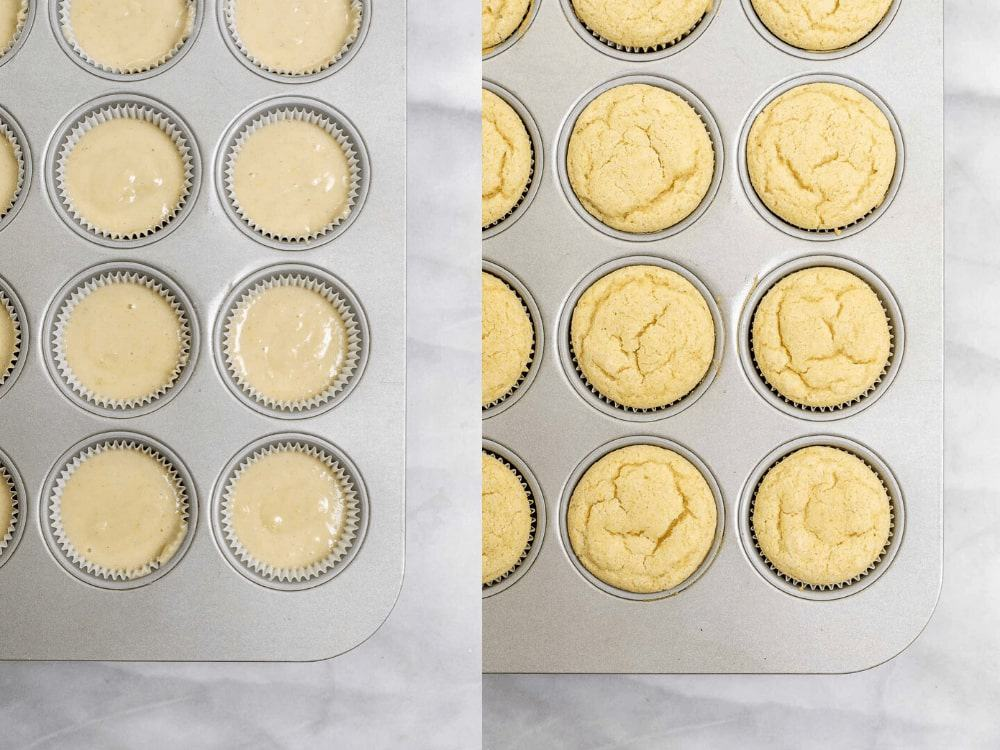 Two photos showing the cupcakes before and after baking.