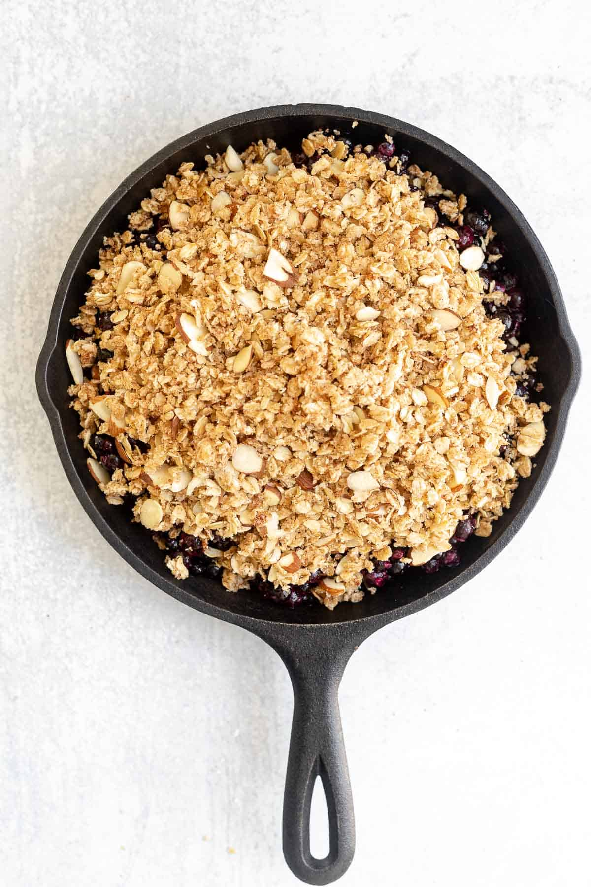blueberry crisp with the crumble topping before baking