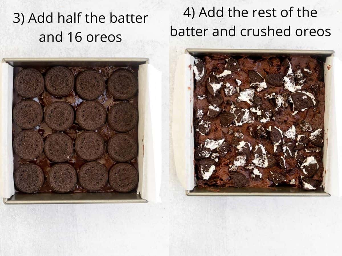 brownie batter in a baking pan with crushed oreos
