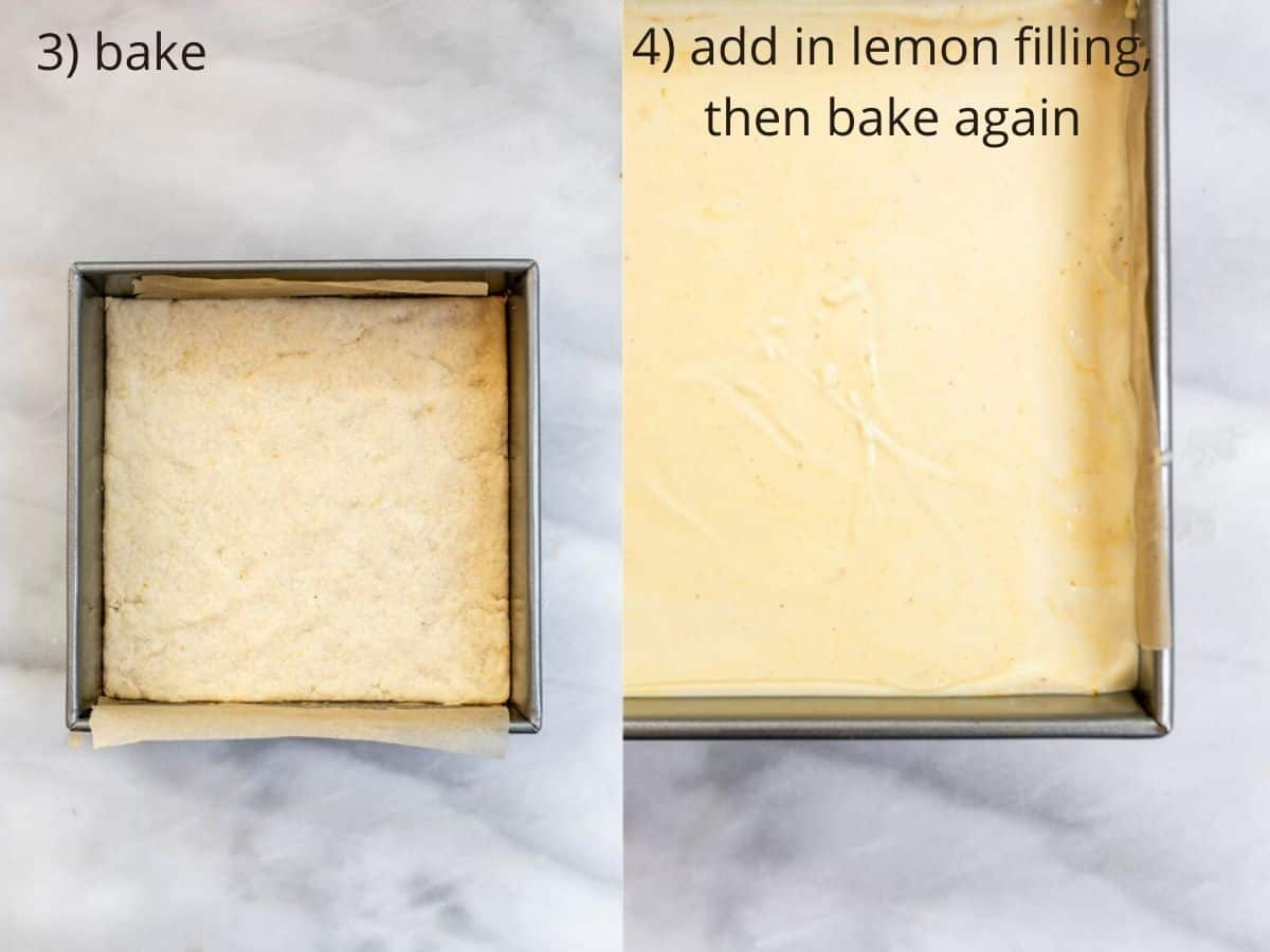 Two photos showing the final crust and the lemon filling in the crust.