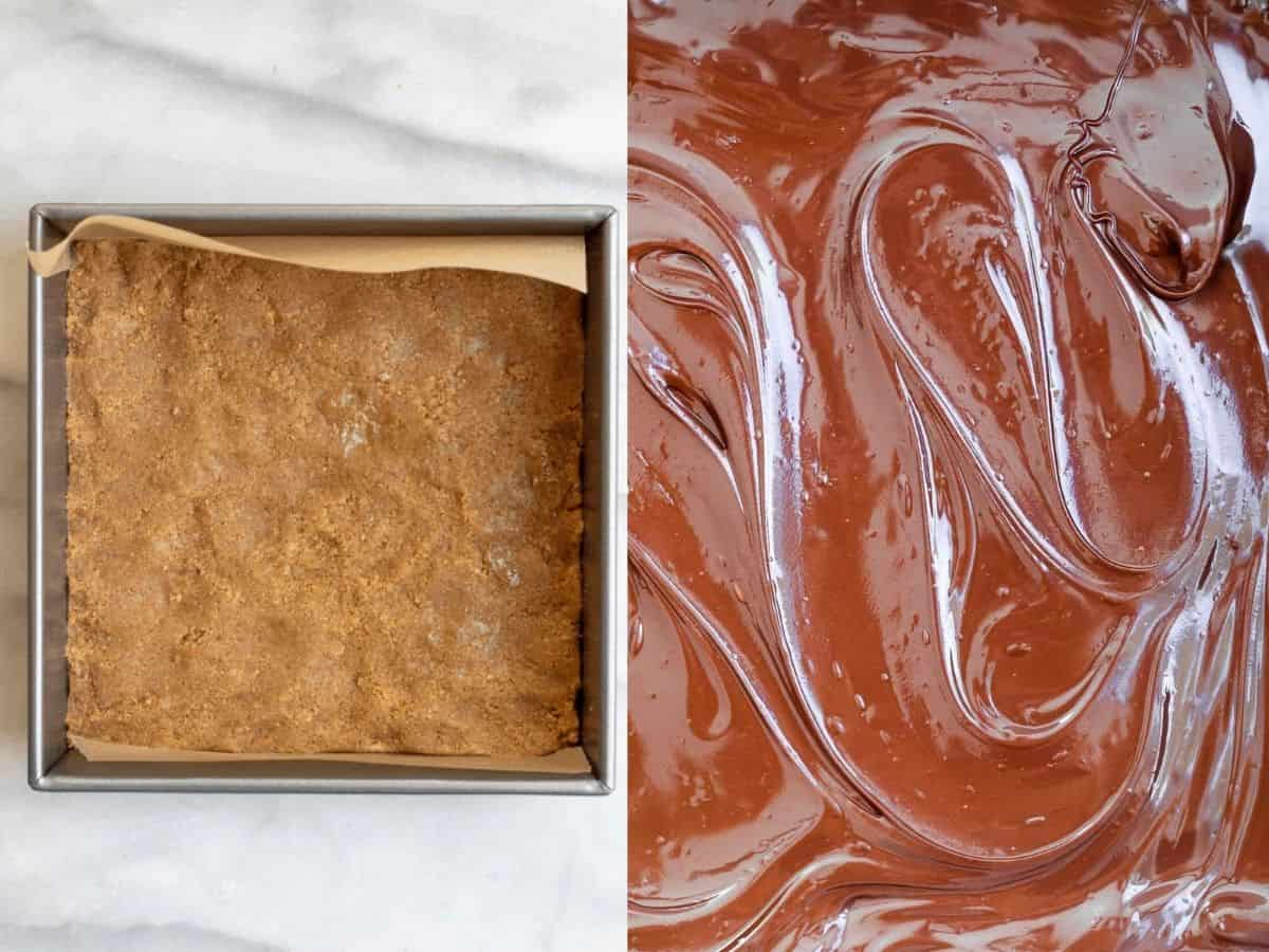 Two images showing the crust and melted chocolate.