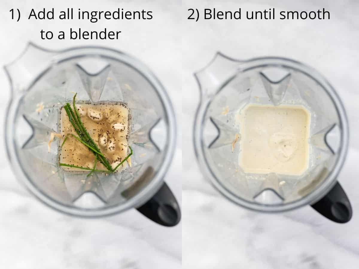 Two images of the blender showing how to make the dressing.