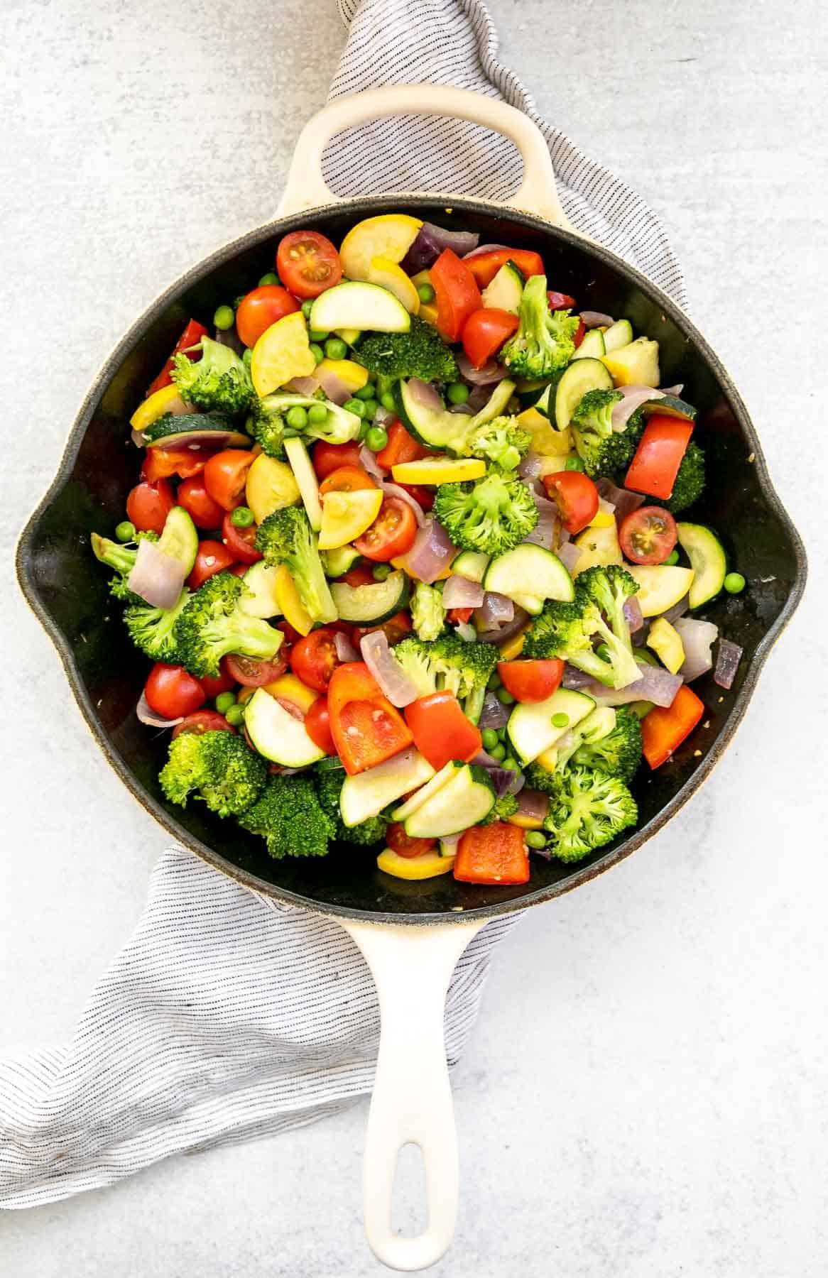 saute vegetables in a skillet