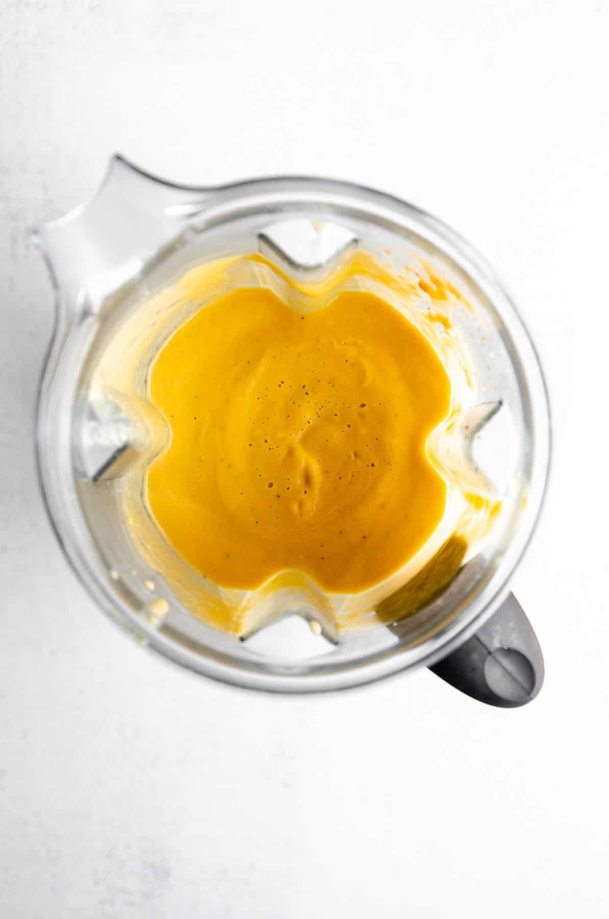 vegan pumpkin pasta sauce in a blender