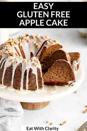 apple cake on a cake stand