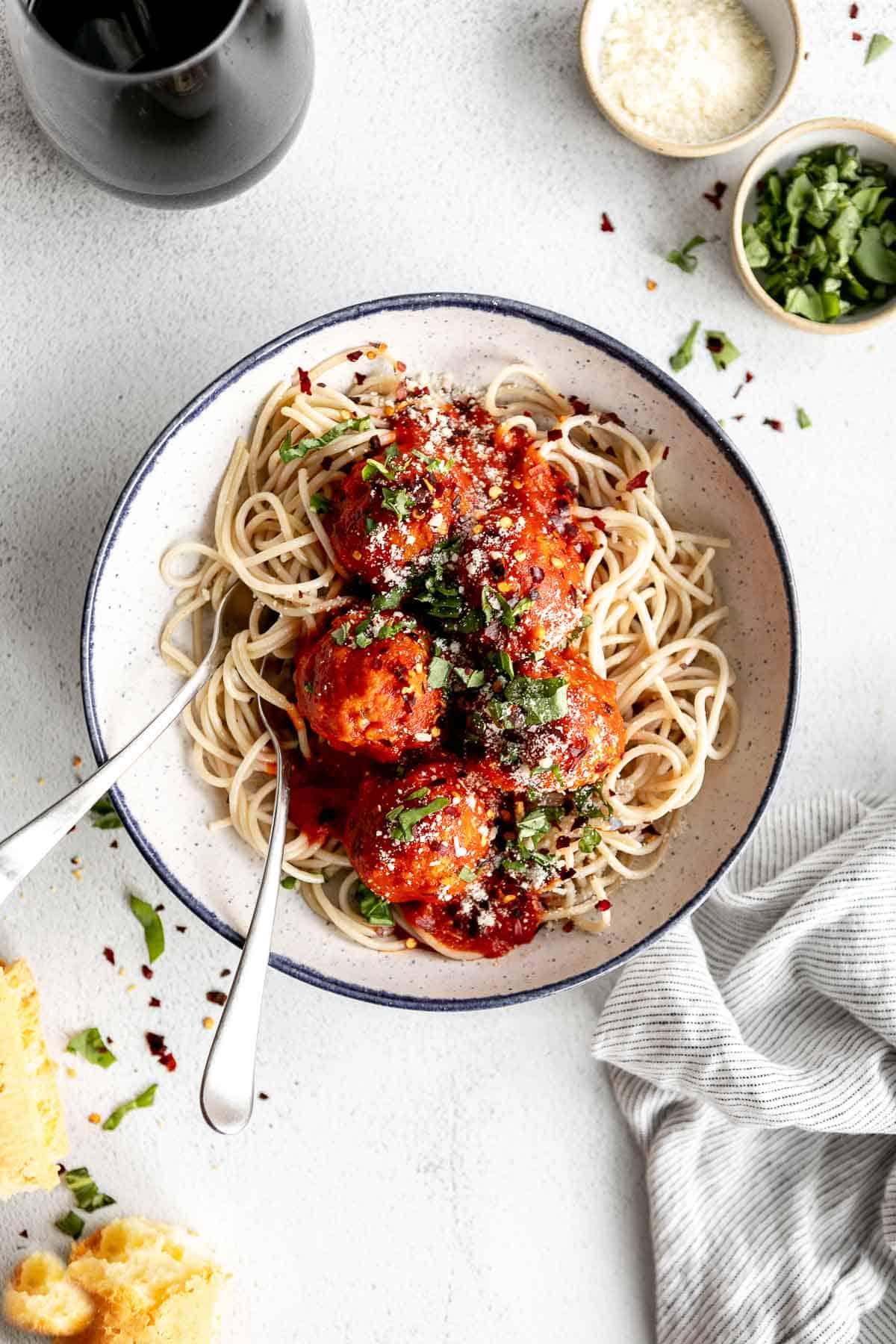 gluten free turkey meatballs with a bowl of spaghetti