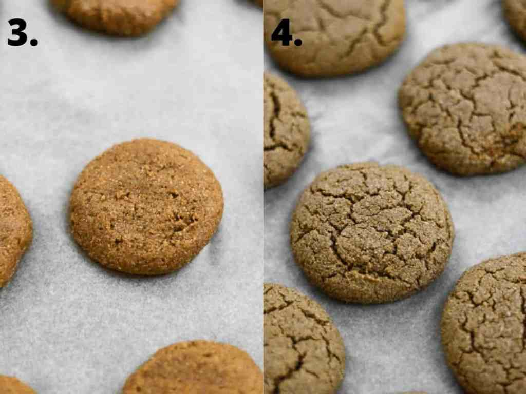 Vegan pumpkin cookies before and after baking.