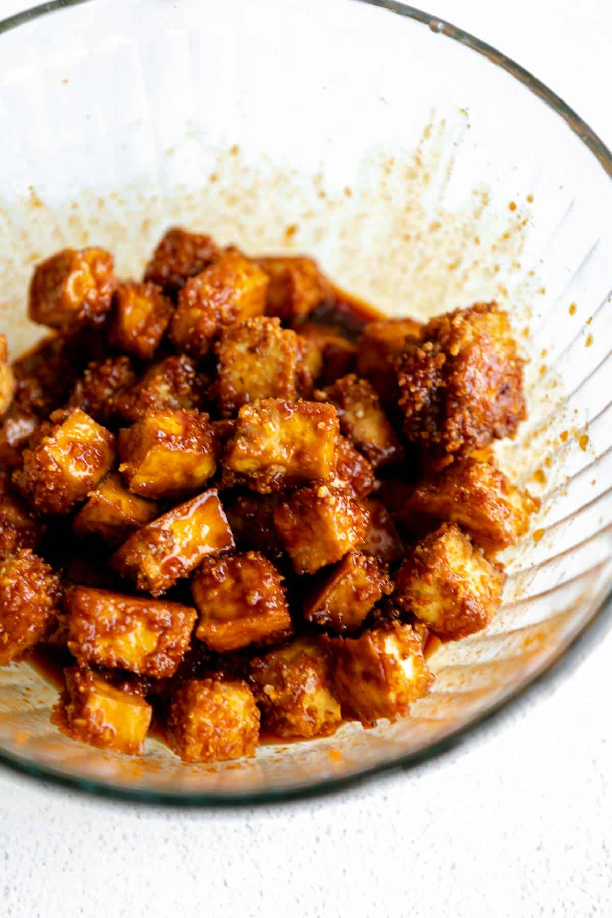 final recipe in a bowl with spicy honey sauce