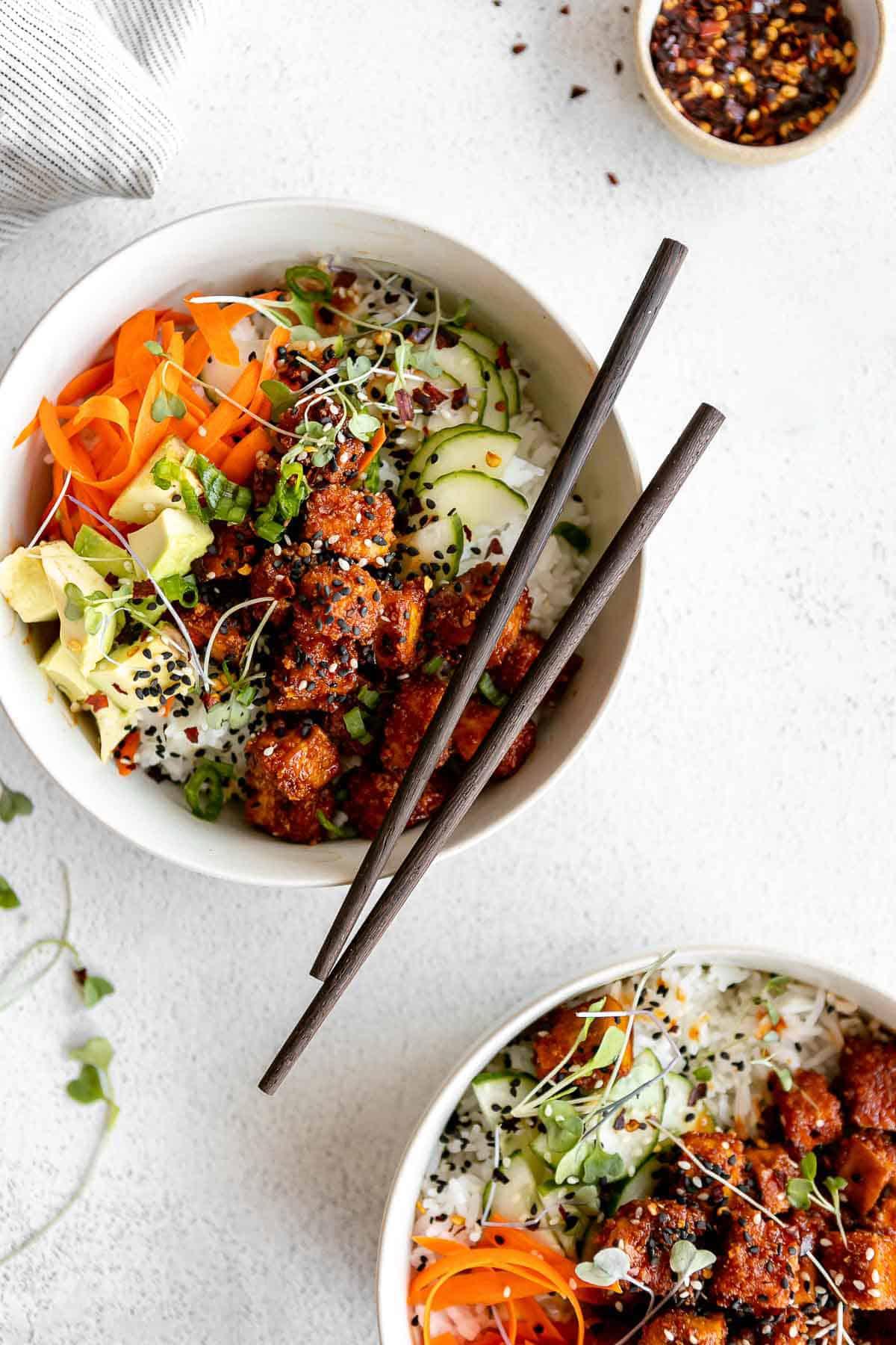 gochujang korean tofu buddha bowl with chopsticks