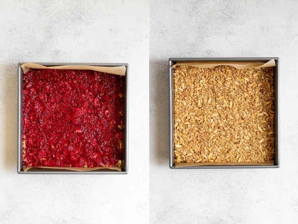 granola bars in the pan