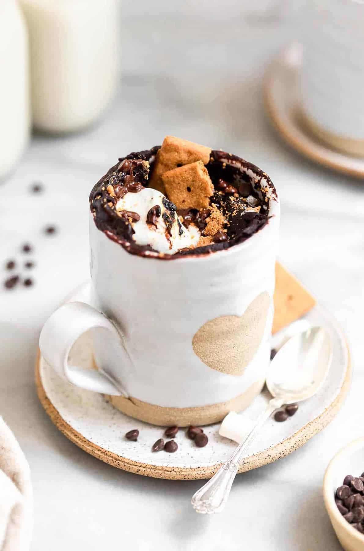 Gluten free chocolate mug cake with marshmallows.