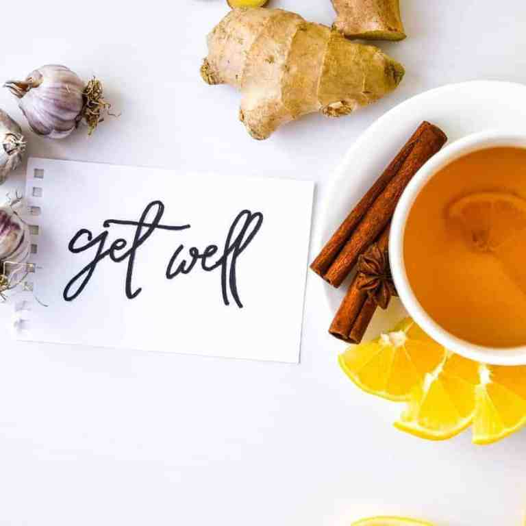 Easy dietary changes to help treat common head cold naturally with garlic, avoid dairy, add in ginger, cinnamon, and honey tea drink.