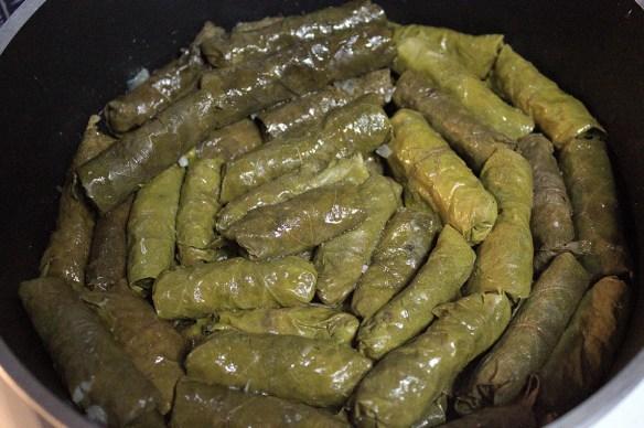 dolmadakia in their pot
