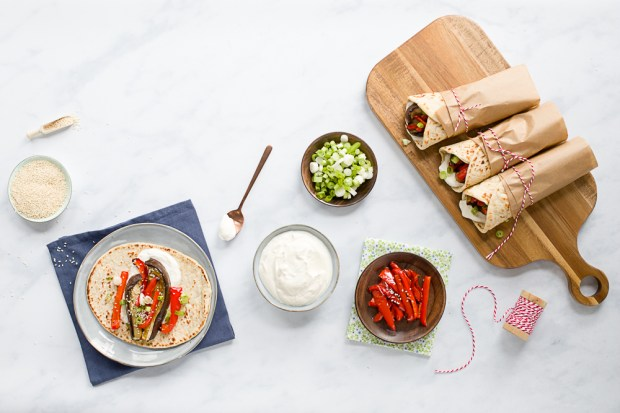 Aubergine red pepper wraps with tahini yoghurt sauce @eatyourselfgreek
