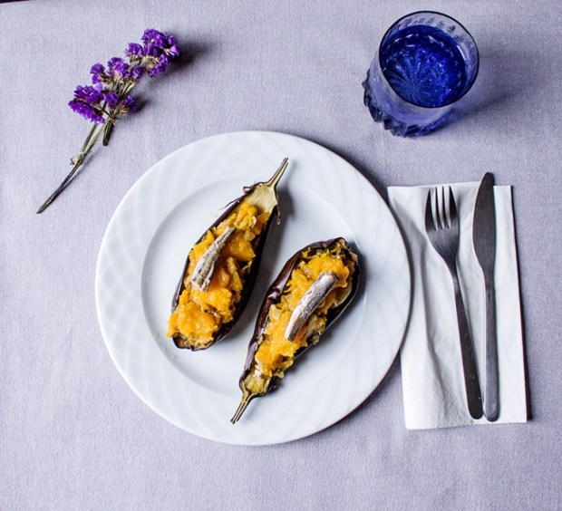 aubergine with pumpkins and smoked anchovies @eatyourselfgreek