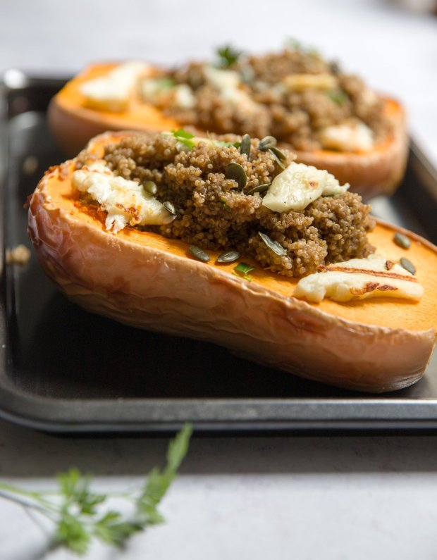Baked squash with spiced quinoa and grilled halloumi
