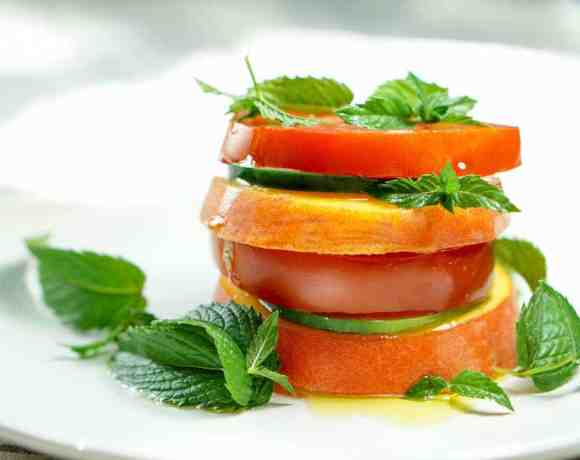 Peach Tomato Mint Salad Stacks