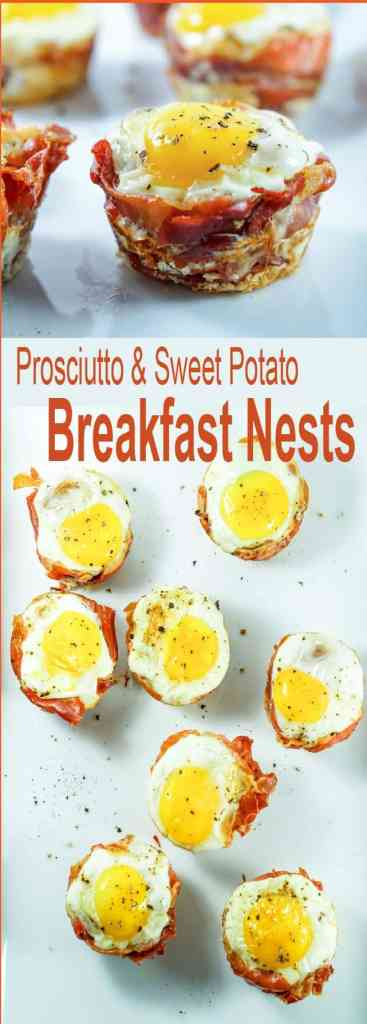Try this Prosciutto Sweet Potato Breakfast Nestsrecipe for an easy and healthy on-the-go breakfast that you can prep ahead of time for busy mornings.