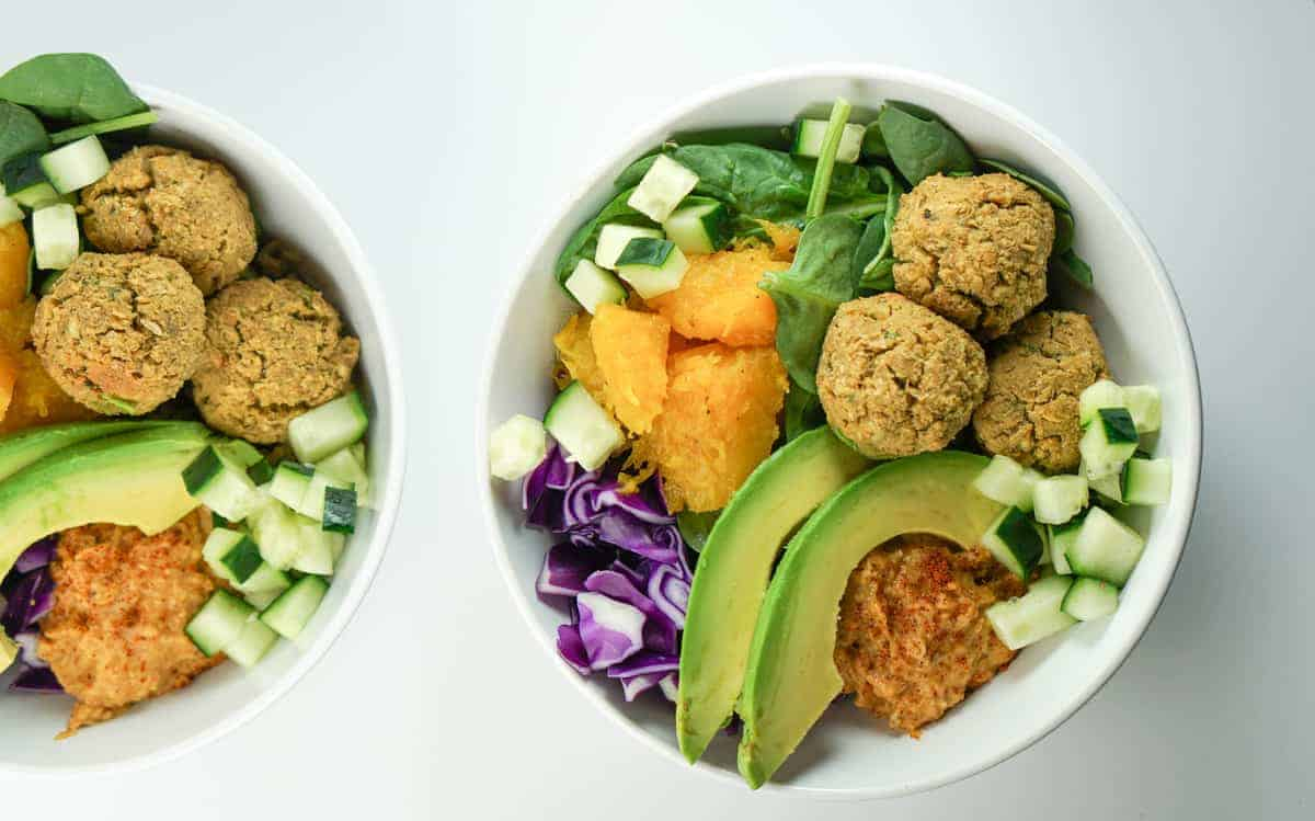 Falafel Bowls with Roasted Squash, Avocado and Harissa Hummus