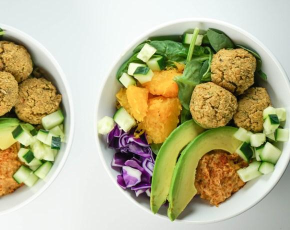 Falafel Bowls with Roasted Squash, Avocado and Harissa Hummus