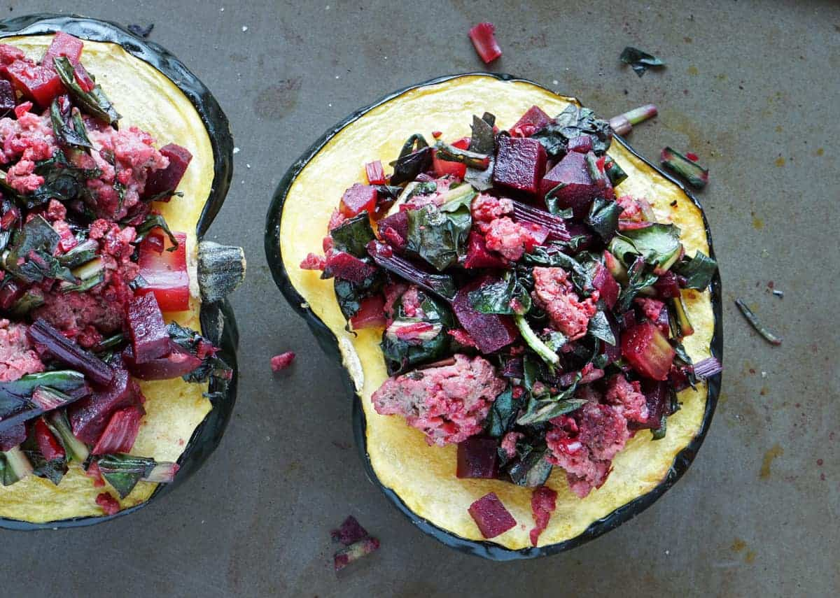 Beet, Dandelion and Grass-Fed Beef Stuffed Acorn Squash