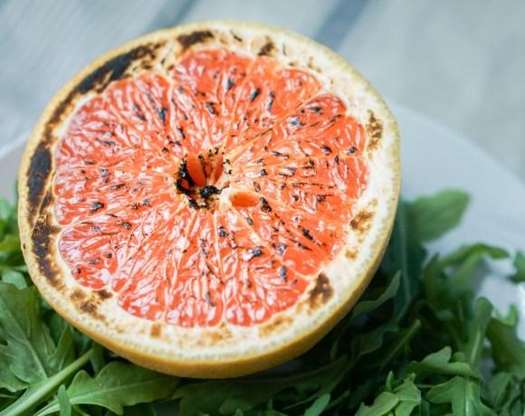 Brûléed Grapefruit (no sugar added) with Tossed Arugula