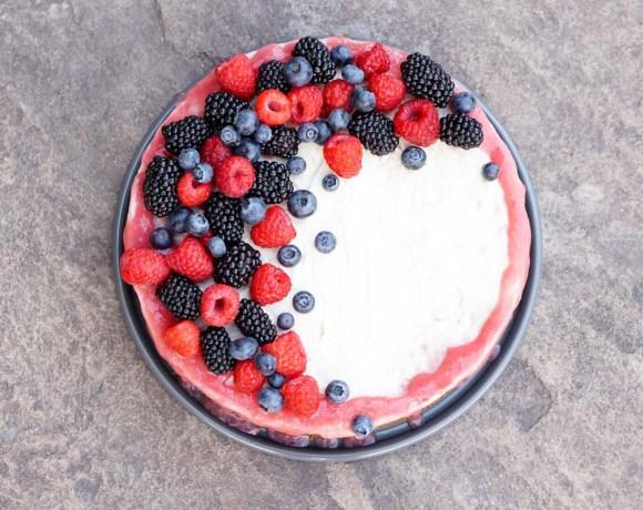 Rhubarb Cashew Ice Cream Cake!