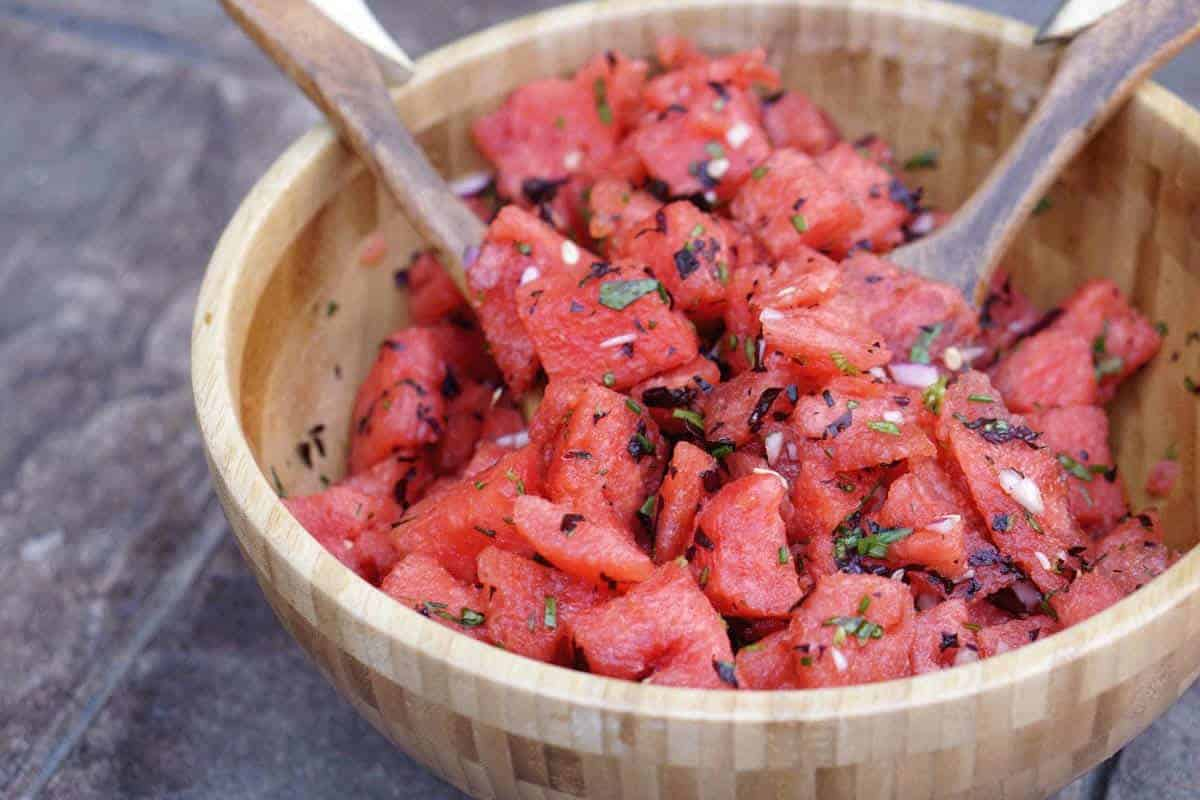 Savory Watermelon Basil Salad