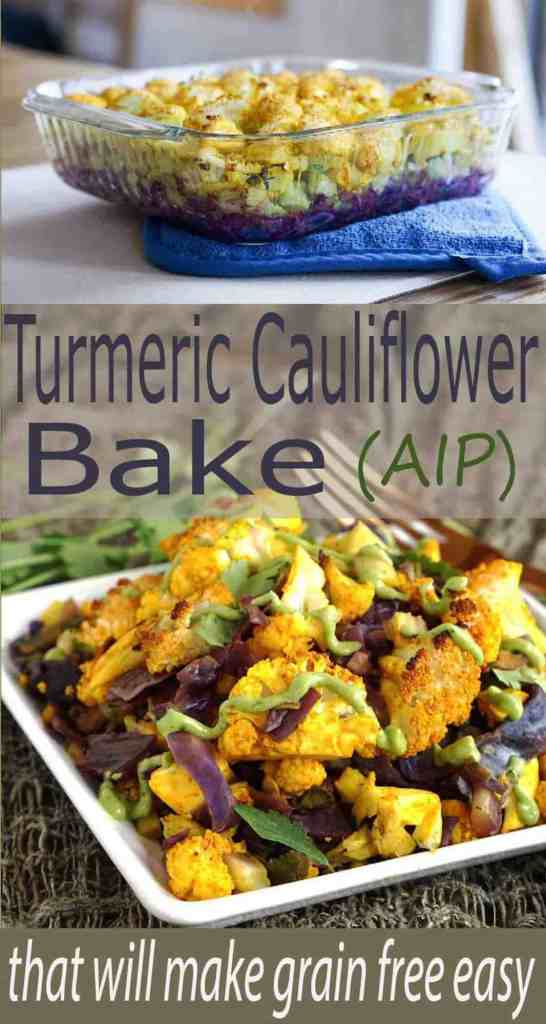 This easy and hearty AIP friendly Turmeric Cauliflower Bake Recipe is the perfect new staple for your paleo, grain free, and gluten free lifestyle, and great with an egg on top!