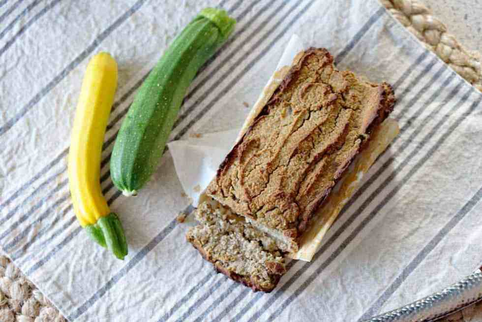 A quick 5-minute blender recipe for individually sized and refined sugar free zucchini bread. This fluffy loaf is naturally sweetened with dates and almond flour and perfect for every morning