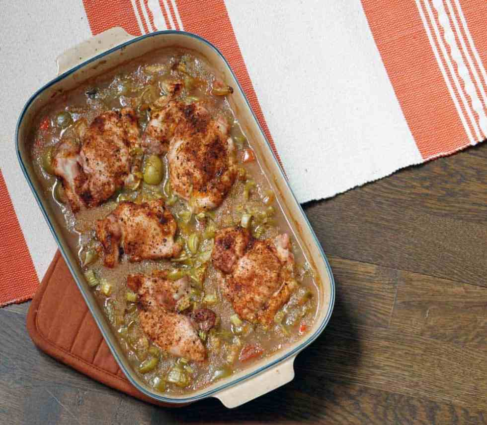 a new kind of casserole: healthy and hearty amaranth, black bean and tomatillo chicken bake