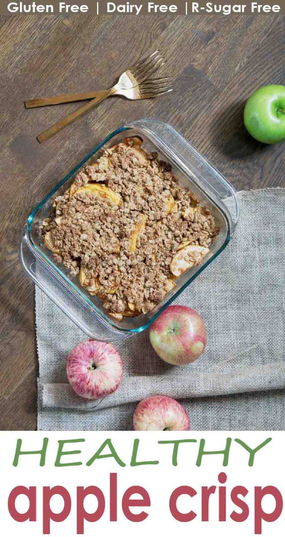 A healthy twist on a classic dessert: this gluten free apple crisp is made from nutritious real foods and nationally sweetened, perfect for health-conscience, dairy free, sugar free or vegan friends!