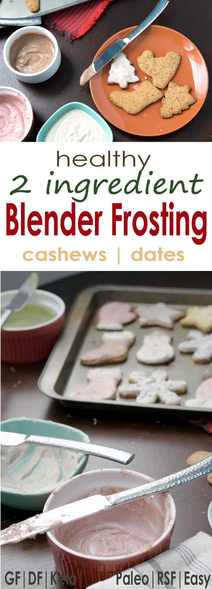 Finally, a cut-out cookie frosting without powdered sugar! With just 2 ingredients, this healthy, paleo and naturally colored blender frosting is ready in just minutes. #glutenfree #dairyfree #paleo #keto #sugarfree #frosting