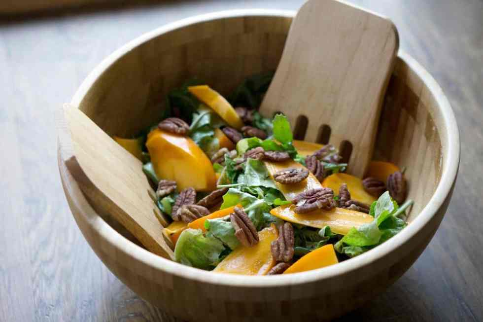 This quick salad is ready in minutes and brings some freshness to classically fall flavors. Just mix persimmons, arugula, toasted pecans and spice together for a naturally paleo and gluten free salad.